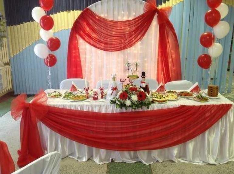 Оформление свадебного зала своими руками в красном цвете